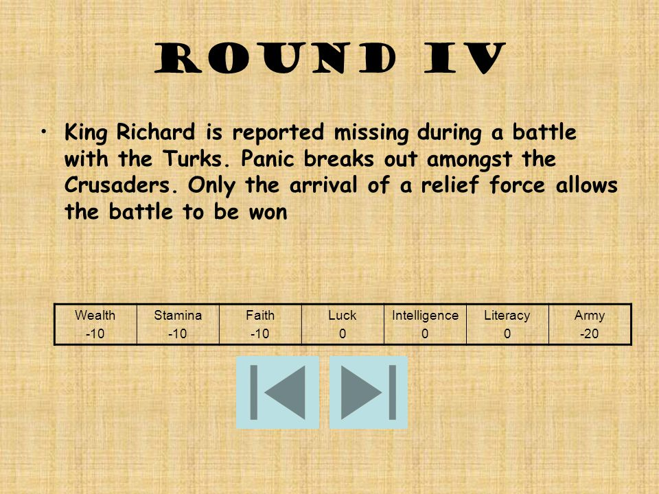 Round IV King Richard is reported missing during a battle with the Turks.