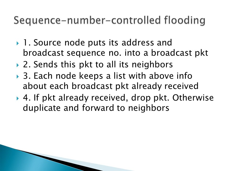  1. Source node puts its address and broadcast sequence no.