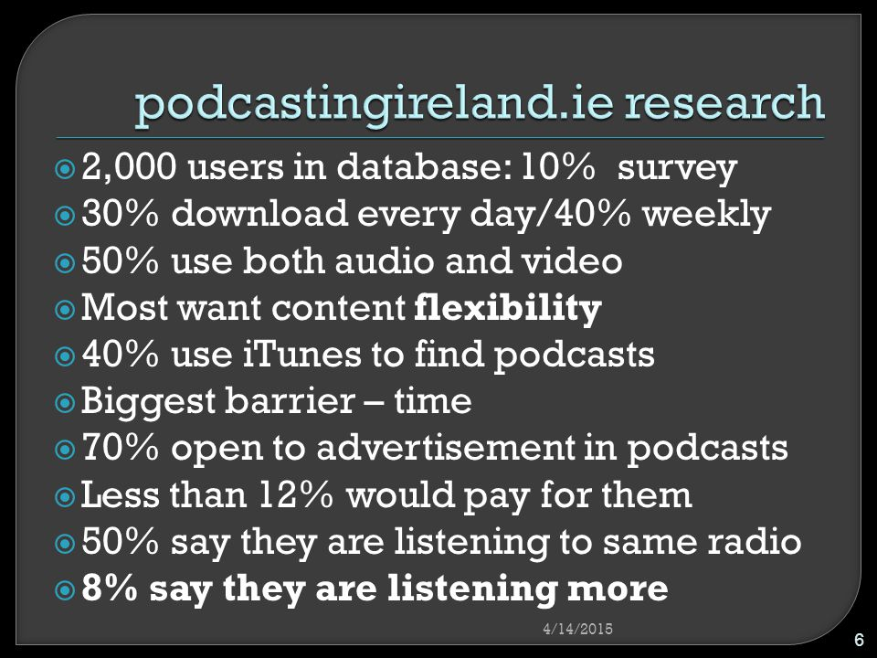  2,000 users in database: 10% survey  30% download every day/40% weekly  50% use both audio and video  Most want content flexibility  40% use iTunes to find podcasts  Biggest barrier – time  70% open to advertisement in podcasts  Less than 12% would pay for them  50% say they are listening to same radio  8% say they are listening more 4/14/2015 6