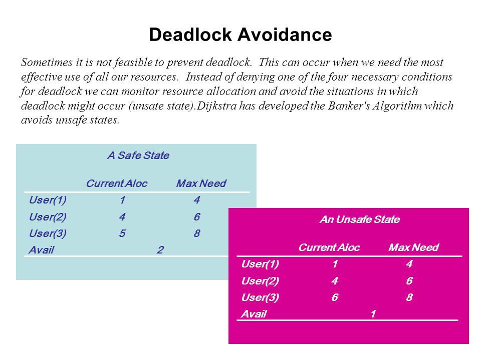 Deadlock Avoidance Sometimes it is not feasible to prevent deadlock.