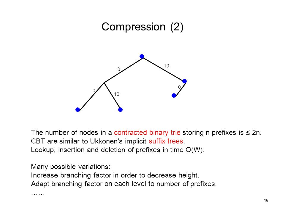16 Compression (2) 0 0 10 0 The number of nodes in a contracted binary trie storing n prefixes is ≤ 2n.