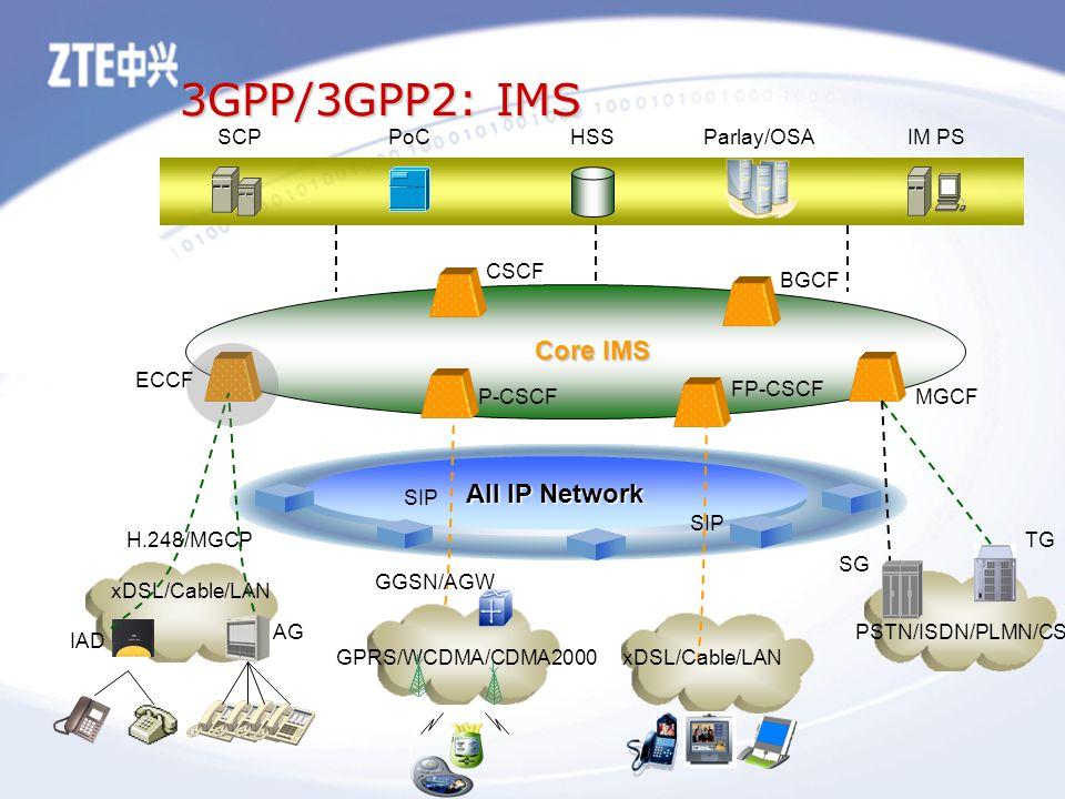 3GPP/3GPP2: IMS All IP Network CSCF P-CSCF FP-CSCF ECCF BGCF MGCF HSSSCPPoCIM PS Parlay/OSA xDSL/Cable/LAN SIP xDSL/Cable/LAN IAD H.248/MGCP AG TG SG PSTN/ISDN/PLMN/CS Core IMS GPRS/WCDMA/CDMA2000 GGSN/AGW