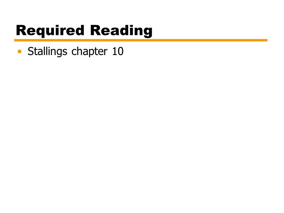 Required Reading Stallings chapter 10