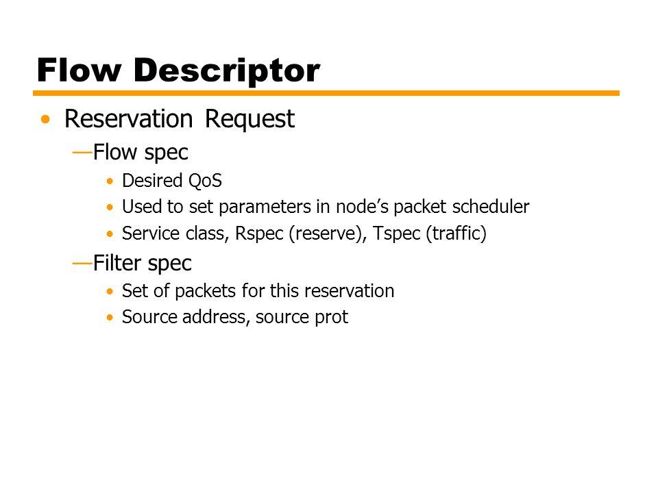 Flow Descriptor Reservation Request —Flow spec Desired QoS Used to set parameters in node's packet scheduler Service class, Rspec (reserve), Tspec (tr