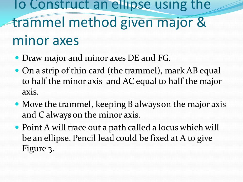 To draw an approximate ellipse given the major & minor axes Draw the axes AB and CD.