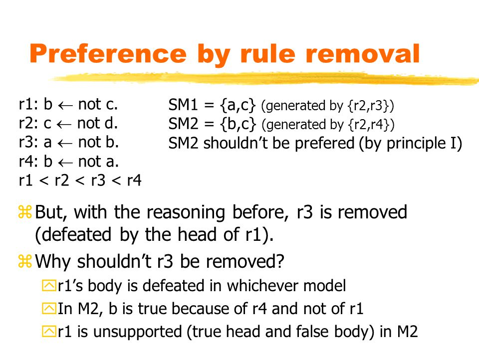Preference by rule removal zBut, with the reasoning before, r3 is removed (defeated by the head of r1).