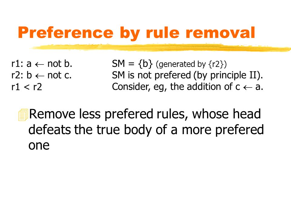 Preference by rule removal 4Remove less prefered rules, whose head defeats the true body of a more prefered one r1: a  not b.