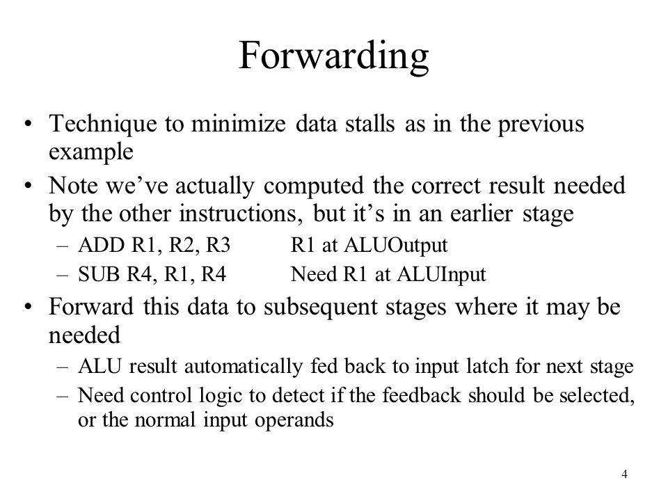 15 Compiler Scheduling Example A=B+C; D =E+F –LW R1, B –LW R2, C –LW R4, E  Swap instr, no stall –ADD R3, R1, R2 –LW R5, F –SW A, R3 –ADD R6, R4, R5 –SW D, R6