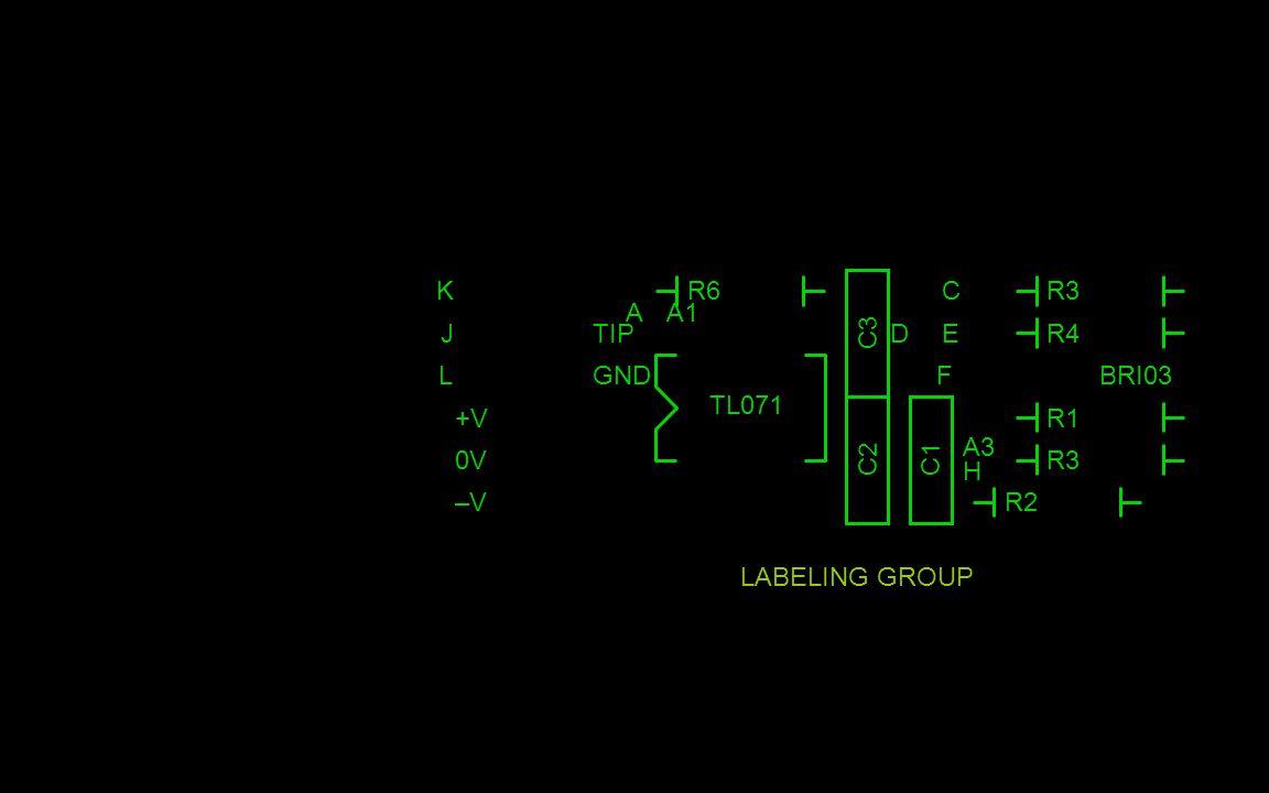 LABELING GROUP C3 TIP GND R4 R3 R1 R3 R2 R6K J L +V 0V –V–V A D C E F A1 A3 H BRI03 TL071 C2C1