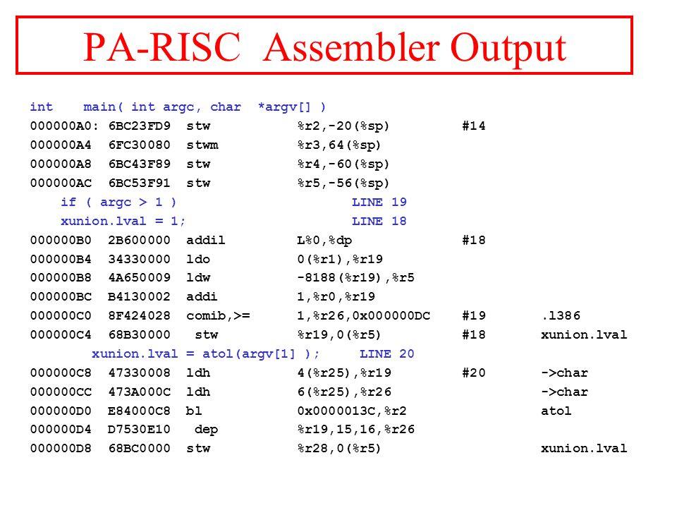 PA-RISC Assembler Output int main( int argc, char *argv[] ) 000000A0: 6BC23FD9 stw %r2,-20(%sp) #14 000000A4 6FC30080 stwm %r3,64(%sp) 000000A8 6BC43F89 stw %r4,-60(%sp) 000000AC 6BC53F91 stw %r5,-56(%sp) if ( argc > 1 ) LINE 19 xunion.lval = 1; LINE 18 000000B0 2B600000 addil L%0,%dp #18 000000B4 34330000 ldo 0(%r1),%r19 000000B8 4A650009 ldw -8188(%r19),%r5 000000BC B4130002 addi 1,%r0,%r19 000000C0 8F424028 comib,>= 1,%r26,0x000000DC #19.l386 000000C4 68B30000 stw %r19,0(%r5) #18 xunion.lval xunion.lval = atol(argv[1] ); LINE 20 000000C8 47330008 ldh 4(%r25),%r19 #20 ->char 000000CC 473A000C ldh 6(%r25),%r26 ->char 000000D0 E84000C8 bl 0x0000013C,%r2 atol 000000D4 D7530E10 dep %r19,15,16,%r26 000000D8 68BC0000 stw %r28,0(%r5) xunion.lval