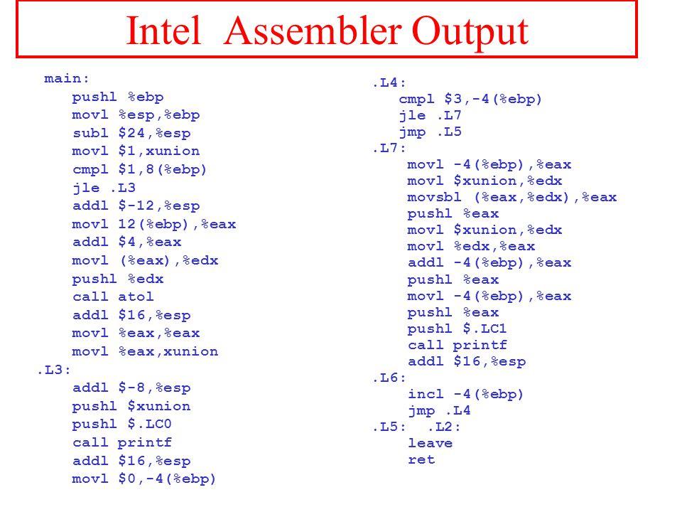 Intel Assembler Output main: pushl %ebp movl %esp,%ebp subl $24,%esp movl $1,xunion cmpl $1,8(%ebp) jle.L3 addl $-12,%esp movl 12(%ebp),%eax addl $4,%eax movl (%eax),%edx pushl %edx call atol addl $16,%esp movl %eax,%eax movl %eax,xunion.L3: addl $-8,%esp pushl $xunion pushl $.LC0 call printf addl $16,%esp movl $0,-4(%ebp).L4: cmpl $3,-4(%ebp) jle.L7 jmp.L5.L7: movl -4(%ebp),%eax movl $xunion,%edx movsbl (%eax,%edx),%eax pushl %eax movl $xunion,%edx movl %edx,%eax addl -4(%ebp),%eax pushl %eax movl -4(%ebp),%eax pushl %eax pushl $.LC1 call printf addl $16,%esp.L6: incl -4(%ebp) jmp.L4.L5:.L2: leave ret