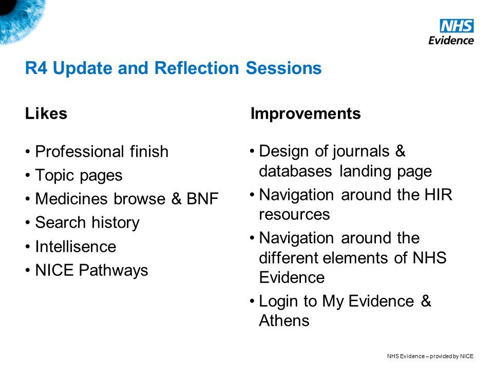 NHS Evidence – provided by NICE R4 Update and Reflection Sessions Likes Professional finish Topic pages Medicines browse & BNF Search history Intellisence NICE Pathways Improvements Design of journals & databases landing page Navigation around the HIR resources Navigation around the different elements of NHS Evidence Login to My Evidence & Athens