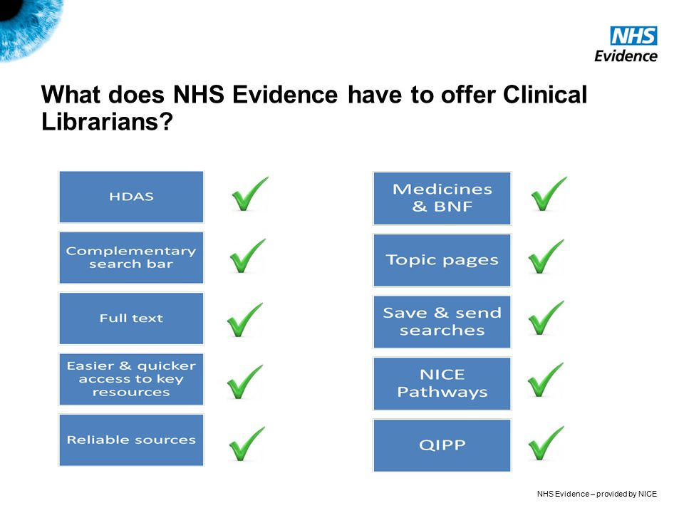 NHS Evidence – provided by NICE What does NHS Evidence have to offer Clinical Librarians