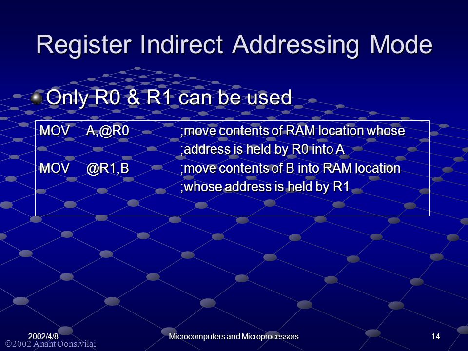  2002 Anant Oonsivilai 142002/4/8Microcomputers and Microprocessors Register Indirect Addressing Mode Only R0 & R1 can be used MOVA,@R0;move contents of RAM location whose ;address is held by R0 into A MOV@R1,B;move contents of B into RAM location ;whose address is held by R1