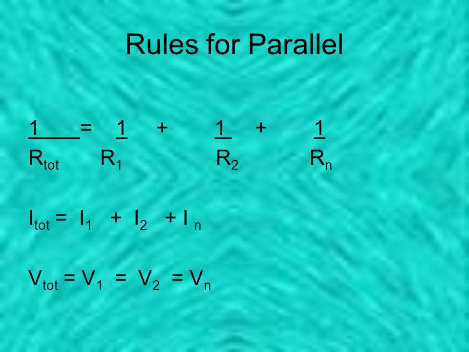 Rules for Parallel 1 = 1 + 1 + 1 R tot R 1 R 2 R n I tot = I 1 + I 2 + I n V tot = V 1 = V 2 = V n