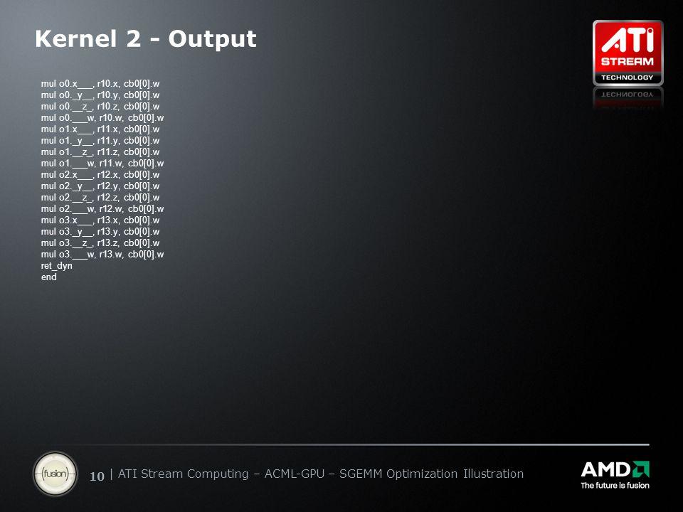   ATI Stream Computing Update   Confidential 10   ATI Stream Computing – ACML-GPU – SGEMM Optimization Illustration Kernel 2 - Output mul o0.x___, r10.x, cb0[0].w mul o0._y__, r10.y, cb0[0].w mul o0.__z_, r10.z, cb0[0].w mul o0.___w, r10.w, cb0[0].w mul o1.x___, r11.x, cb0[0].w mul o1._y__, r11.y, cb0[0].w mul o1.__z_, r11.z, cb0[0].w mul o1.___w, r11.w, cb0[0].w mul o2.x___, r12.x, cb0[0].w mul o2._y__, r12.y, cb0[0].w mul o2.__z_, r12.z, cb0[0].w mul o2.___w, r12.w, cb0[0].w mul o3.x___, r13.x, cb0[0].w mul o3._y__, r13.y, cb0[0].w mul o3.__z_, r13.z, cb0[0].w mul o3.___w, r13.w, cb0[0].w ret_dyn end