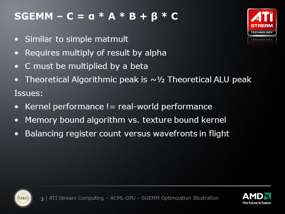 | ATI Stream Computing Update | Confidential 33 | ATI Stream Computing – ACML-GPU – SGEMM Optimization Illustration SGEMM – C = α * A * B + β * C Simi