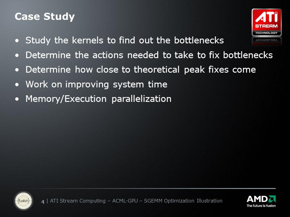 | ATI Stream Computing Update | Confidential 44 | ATI Stream Computing – ACML-GPU – SGEMM Optimization Illustration Case Study Study the kernels to fi