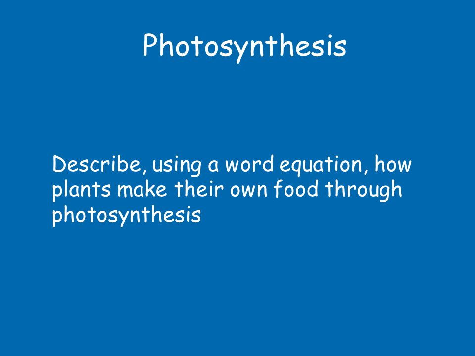 Photosynthesis Describe, using a word equation, how plants make their own food through photosynthesis
