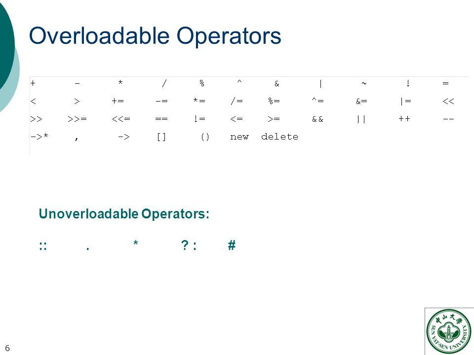 Overloadable Operators 6 Unoverloadable Operators: ::. * :#