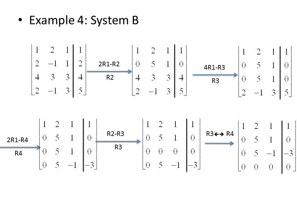 Example 4: System B 2R1-R2 R2 4R1-R3 R3 2R1-R4 R4 R2-R3 R3 R3  R4