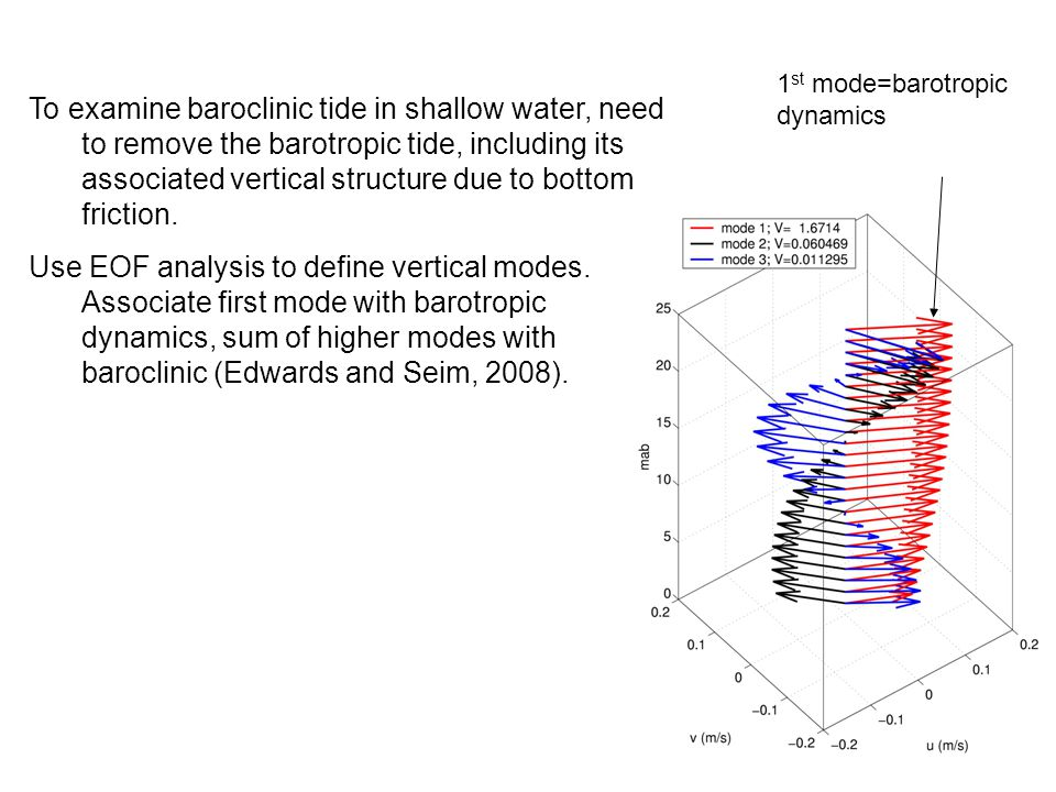 To examine baroclinic tide in shallow water, need to remove the barotropic tide, including its associated vertical structure due to bottom friction.