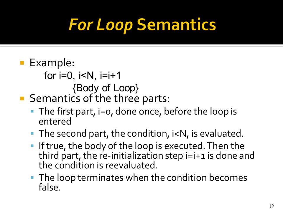  Example: for i=0, i<N, i=i+1 {Body of Loop}  Semantics of the three parts:  The first part, i=0, done once, before the loop is entered  The second part, the condition, i<N, is evaluated.