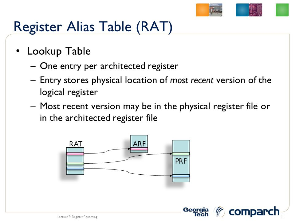 Lookup Table –One entry per architected register –Entry stores physical location of most recent version of the logical register –Most recent version may be in the physical register file or in the architected register file Lecture 7: Register Renaming 11 ARF PRF RAT