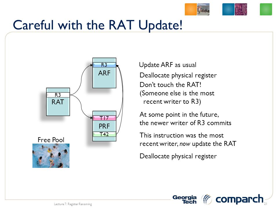 Lecture 7: Register Renaming 21 ARF R3 RAT R3 PRF Free Pool T42 T17 Update ARF as usual Deallocate physical register Don't touch the RAT.