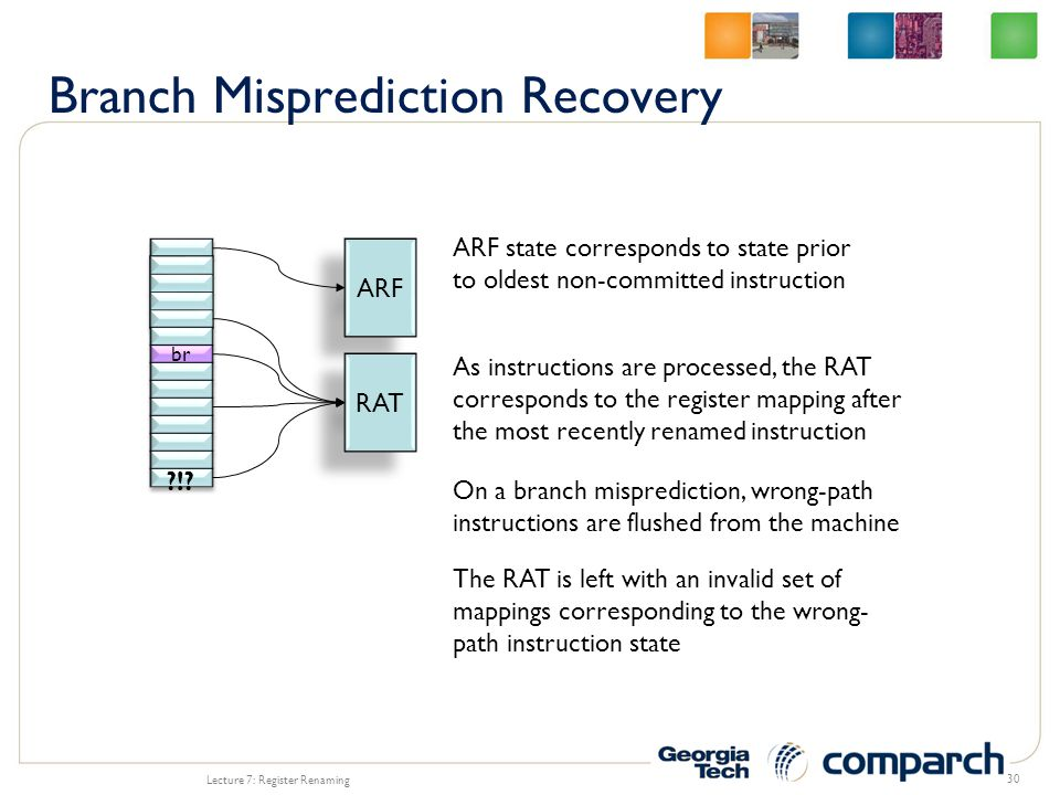Lecture 7: Register Renaming 30 br ARF RAT ARF state corresponds to state prior to oldest non-committed instruction As instructions are processed, the RAT corresponds to the register mapping after the most recently renamed instruction On a branch misprediction, wrong-path instructions are flushed from the machine !.