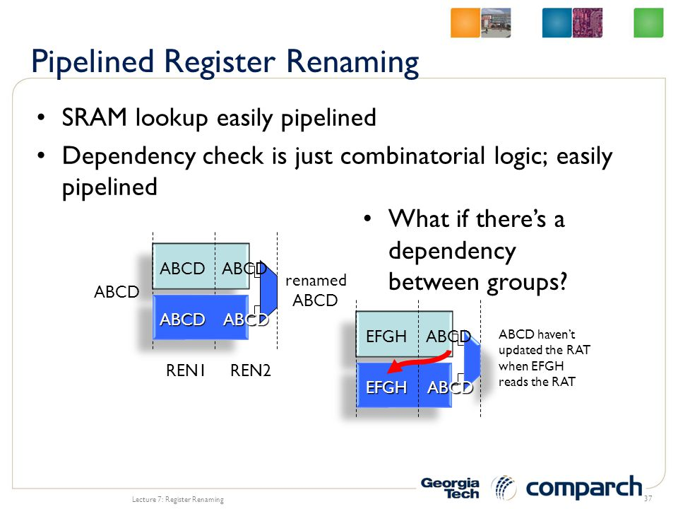 SRAM lookup easily pipelined Dependency check is just combinatorial logic; easily pipelined Lecture 7: Register Renaming 37 REN1REN2 ABCD renamed ABCD What if there's a dependency between groups.