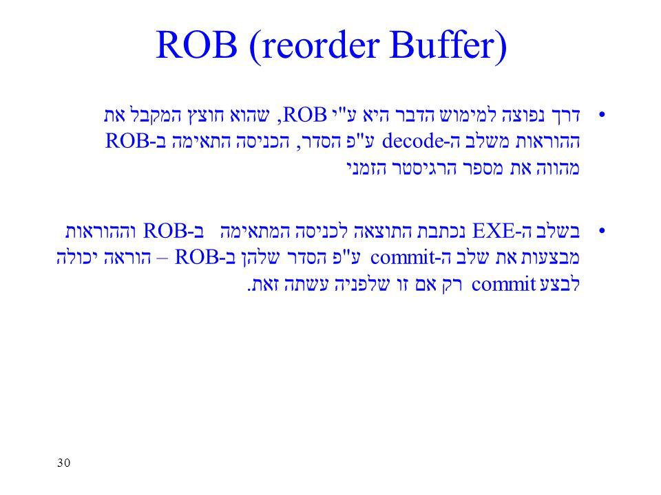 30 ROB (reorder Buffer) דרך נפוצה למימוש הדבר היא ע י ROB, שהוא חוצץ המקבל את ההוראות משלב ה-decode ע פ הסדר, הכניסה התאימה ב-ROB מהווה את מספר הרגיסטר הזמני בשלב ה-EXE נכתבת התוצאה לכניסה המתאימה ב-ROB וההוראות מבצעות את שלב ה-commit ע פ הסדר שלהן ב-ROB – הוראה יכולה לבצע commit רק אם זו שלפניה עשתה זאת.
