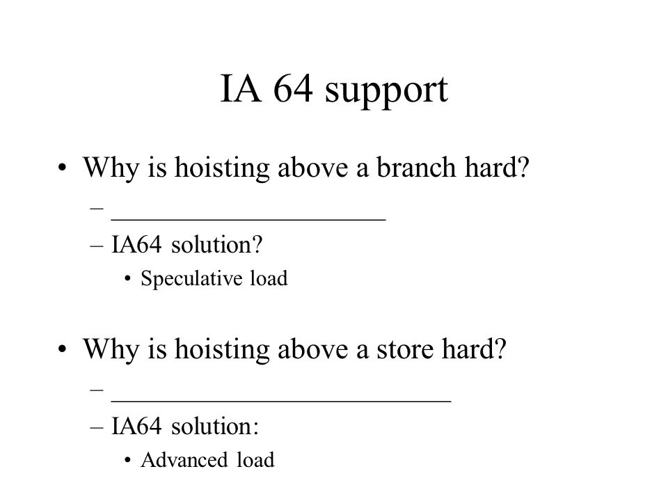 IA 64 support Why is hoisting above a branch hard.