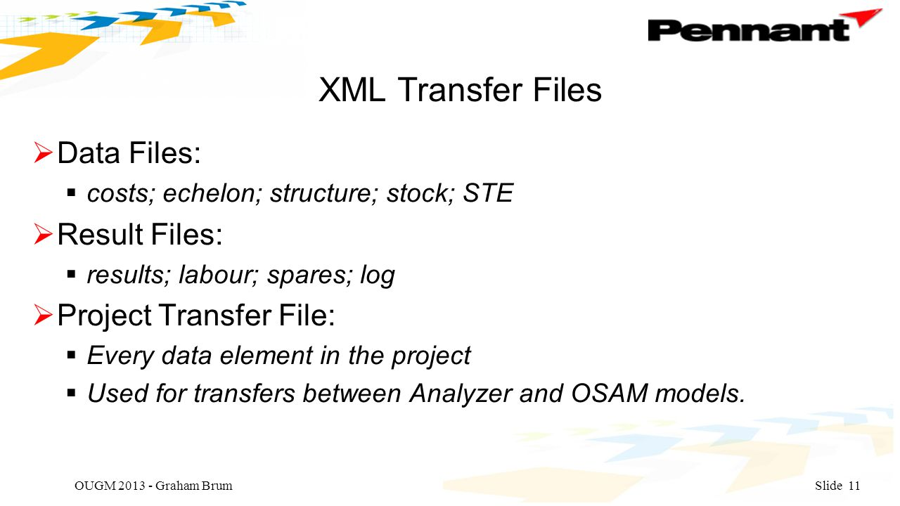 XML Transfer Files  Data Files:  costs; echelon; structure; stock; STE  Result Files:  results; labour; spares; log  Project Transfer File:  Every data element in the project  Used for transfers between Analyzer and OSAM models.