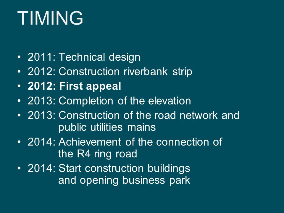 TIMING 2011: Technical design 2012: Construction riverbank strip 2012: First appeal 2013: Completion of the elevation 2013: Construction of the road network and public utilities mains 2014: Achievement of the connection of the R4 ring road 2014: Start construction buildings and opening business park