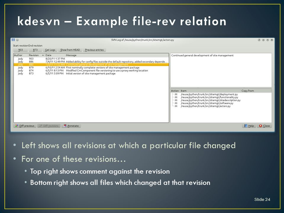 Slide 24 Left shows all revisions at which a particular file changed For one of these revisions… Top right shows comment against the revision Bottom right shows all files which changed at that revision