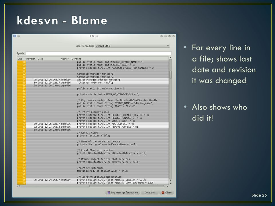 Slide 25 For every line in a file; shows last date and revision it was changed Also shows who did it!