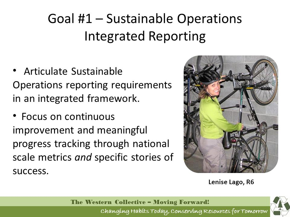 Changing Habits Today, Conserving Resources for Tomorrow The Western Collective – Moving Forward! Goal #1 – Sustainable Operations Integrated Reportin