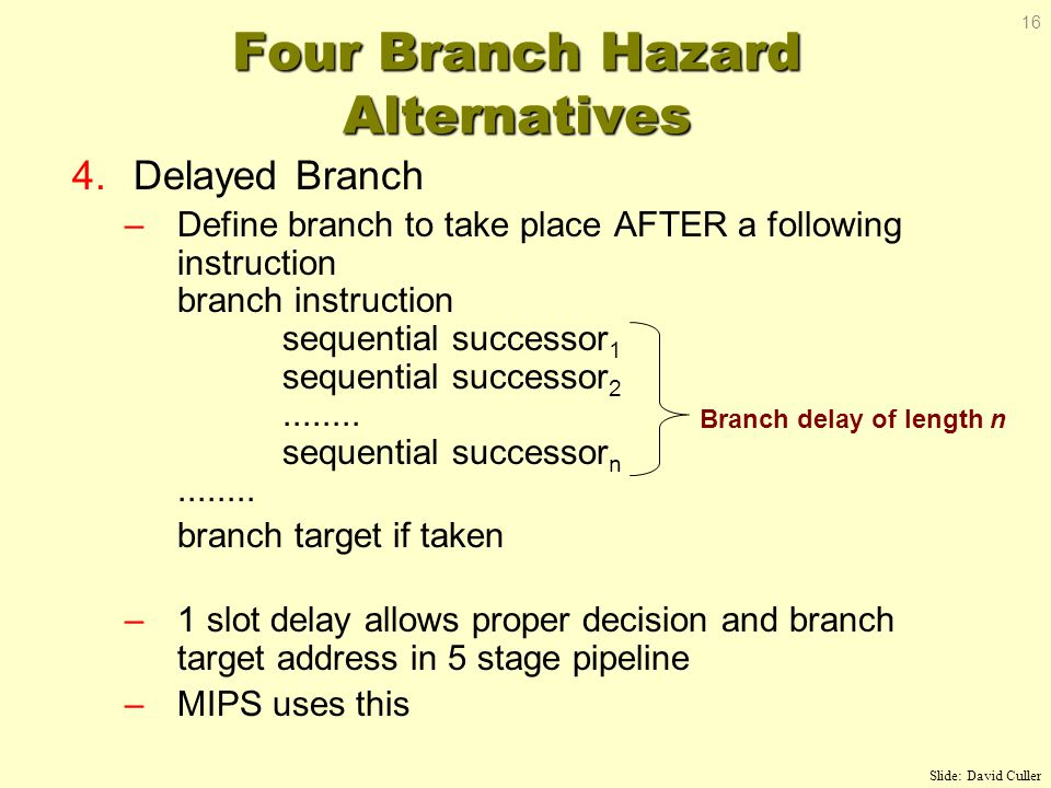 4.Delayed Branch –Define branch to take place AFTER a following instruction branch instruction sequential successor 1 sequential successor 2........