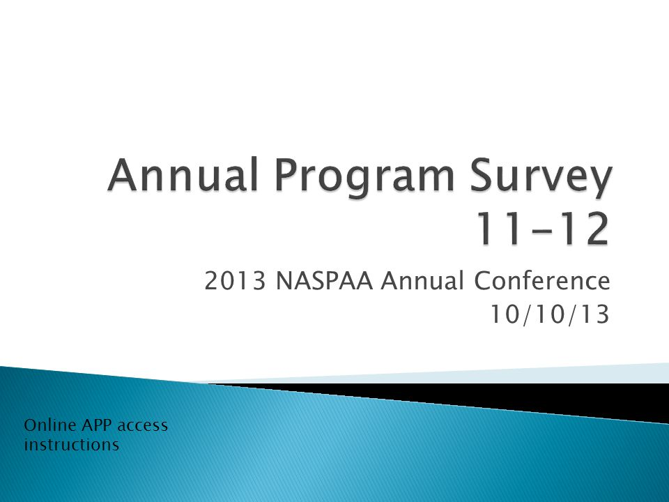 2013 NASPAA Annual Conference 10/10/13 Online APP access instructions