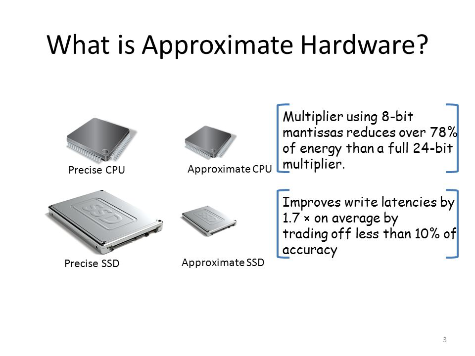 What is Approximate Hardware? 3 Precise CPU Approximate CPU Precise SSD Approximate SSD Multiplier using 8-bit mantissas reduces over 78% of energy th