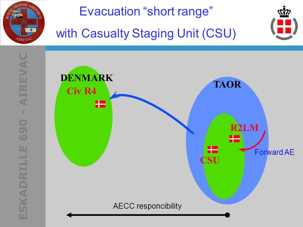 ESKADRILLE 690 - AIREVAC R2LM AECC responcibility DENMARK Evacuation short range with Casualty Staging Unit (CSU) Forward AE TAOR CSU Civ R4