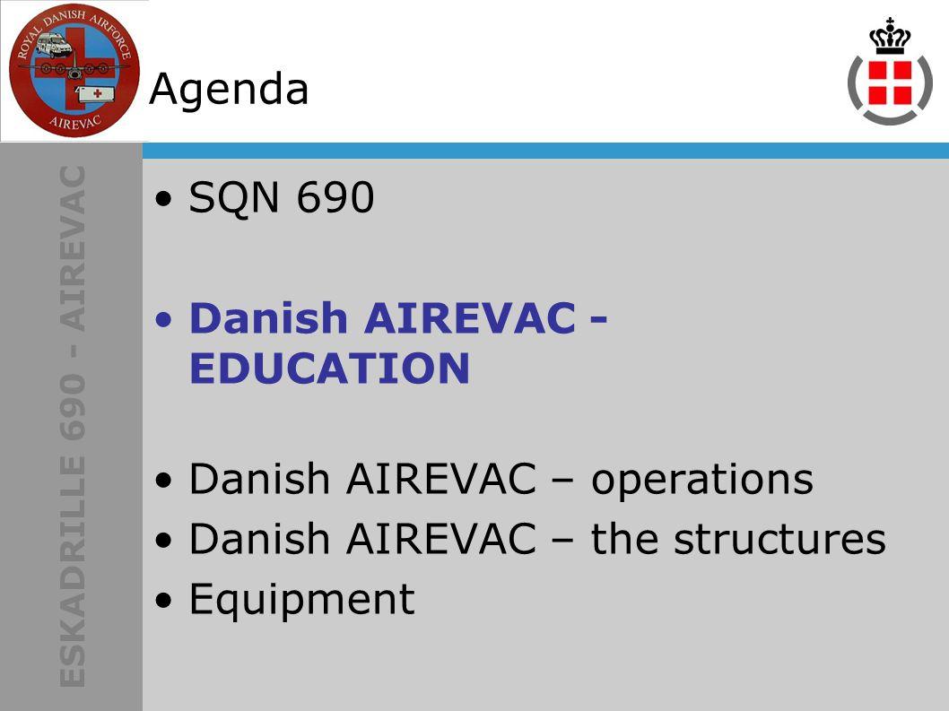 ESKADRILLE 690 - AIREVAC Agenda SQN 690 Danish AIREVAC - EDUCATION Danish AIREVAC – operations Danish AIREVAC – the structures Equipment