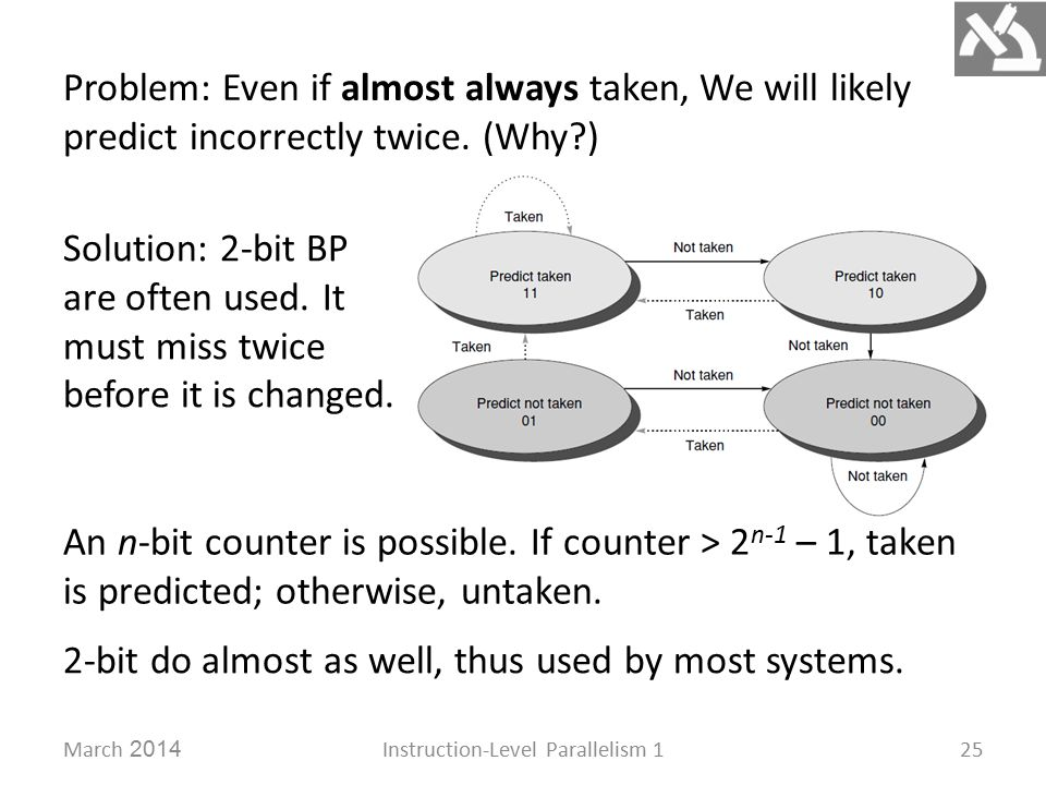March 2014Instruction-Level Parallelism 125 Solution: 2-bit BP are often used.