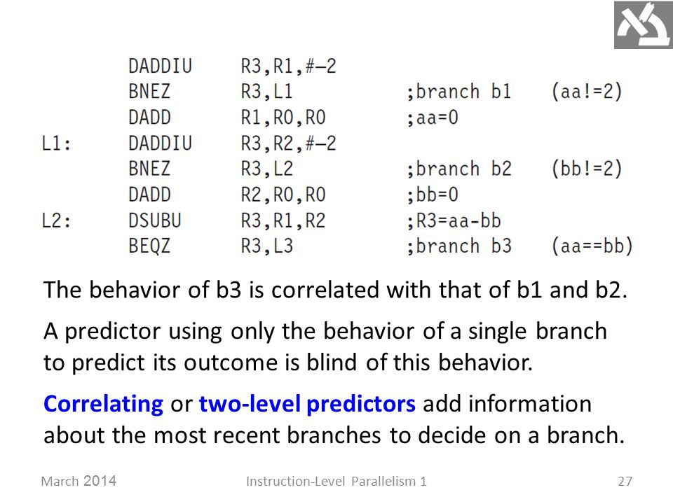 March 2014Instruction-Level Parallelism 127 The behavior of b3 is correlated with that of b1 and b2.