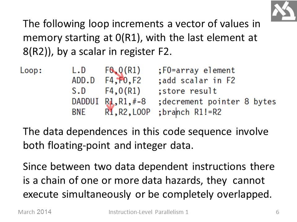 March 2014Instruction-Level Parallelism 16 The following loop increments a vector of values in memory starting at 0(R1), with the last element at 8(R2)), by a scalar in register F2.