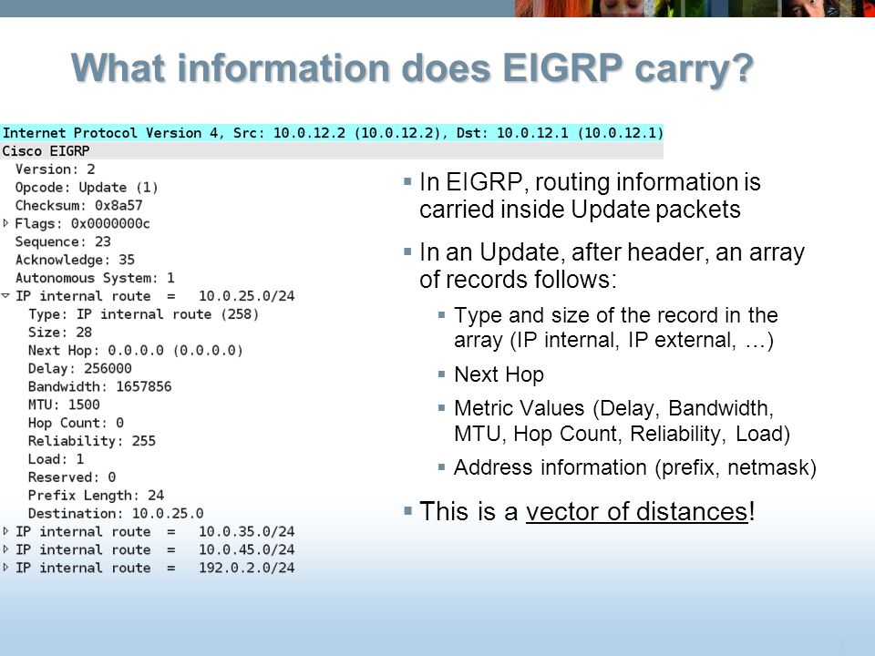 7 What information does EIGRP carry?  In EIGRP, routing information is carried inside Update packets  In an Update, after header, an array of record