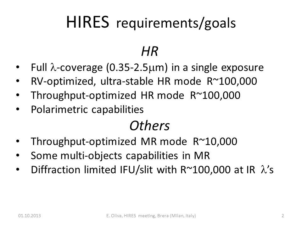 HIRES basic physics of ELTs 01.10.2013E.
