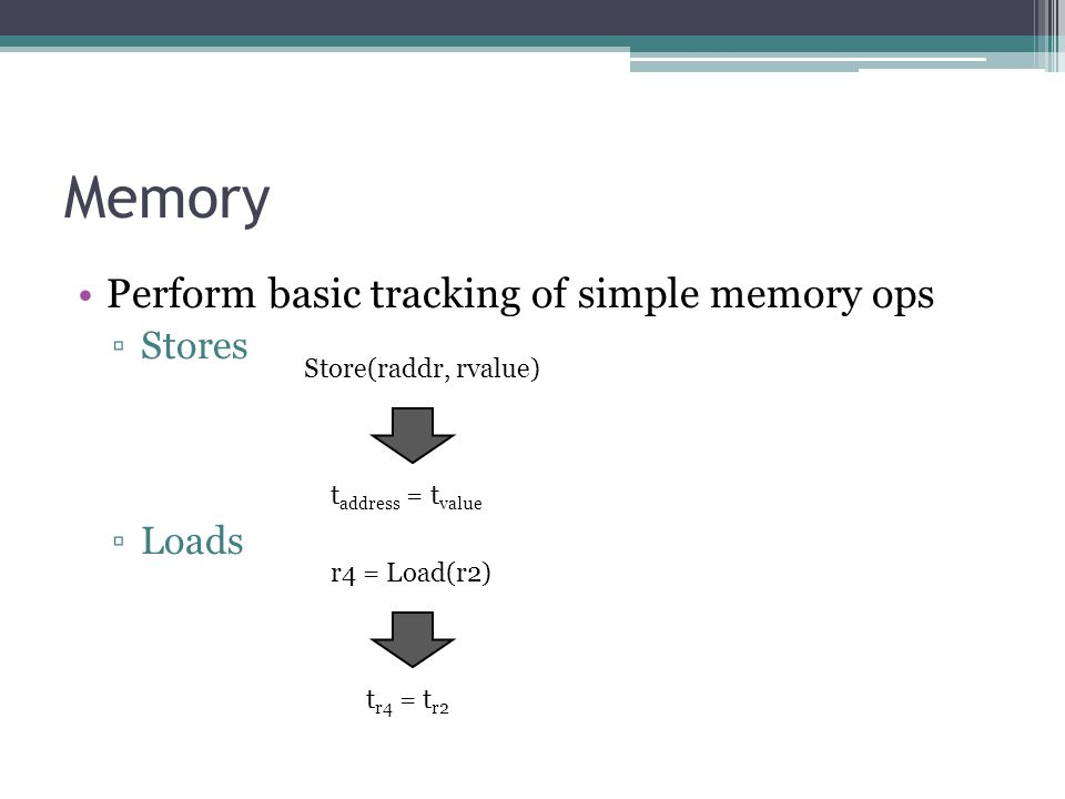 Memory Perform basic tracking of simple memory ops ▫Stores ▫Loads Store(raddr, rvalue) t address = t value r4 = Load(r2) t r4 = t r2