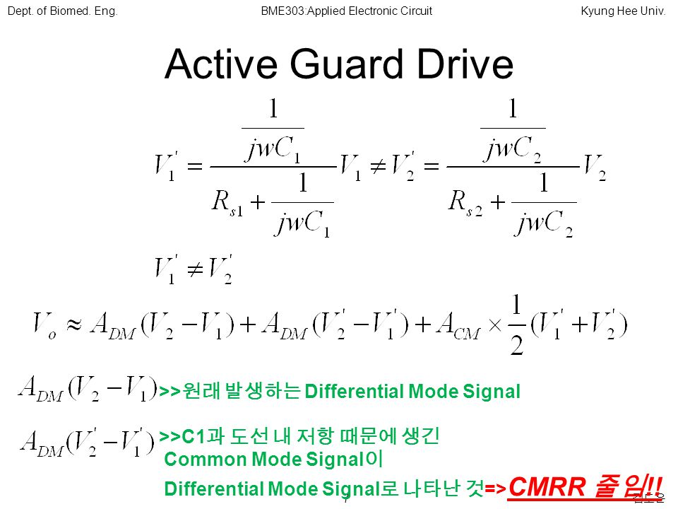 7 김도윤 Dept. of Biomed. Eng.BME303:Applied Electronic CircuitKyung Hee Univ.